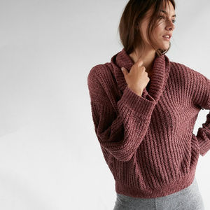 Express chenille  sweater in dusty lavender